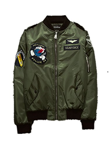 Ecollection Unisex Herren Jahrgang Bomberjacke Stickerei Klassisch Bikerjacke Padded Mantel Vintage Bomber Jacket Embroidery Classic Zip up...