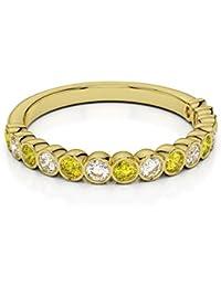 18KT Amarillo Oro 0,21CT H-I certificada corte redondo amarillo zafiro y diamante Half Eternity Ring agdr-1102