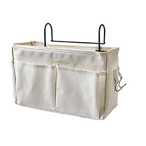E EBETA Betttasche mit Drahtrahmen Bett Organizer Hochbett Hängetasche Aufbewahrungstasche für Buch, Magazin, Kopfhörer(Weiß)