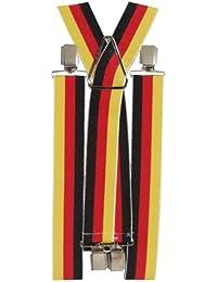 BRUBAKER Herren Hosenträger Deutschland Fan 4 Clips 34 mm breit, extra stabil