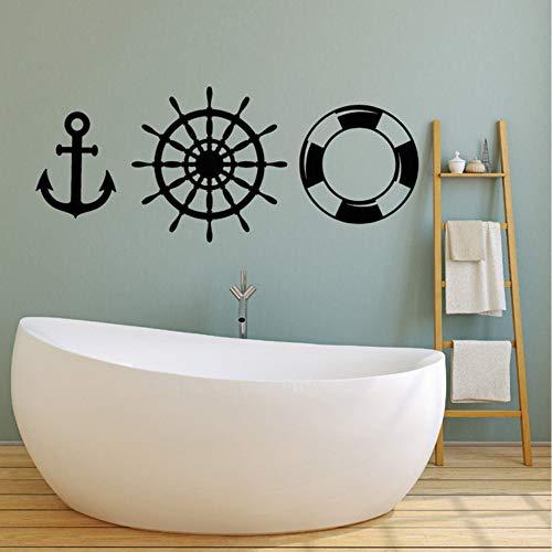 Waofe Neu Ankünfte Boot Werkzeug Vinyl Wandtattoo Anker Rettungsring Ozean Stil Schiff Aufkleber Badezimmer Wanddekor Kinderzimmer Tapete 102 * 42Cm