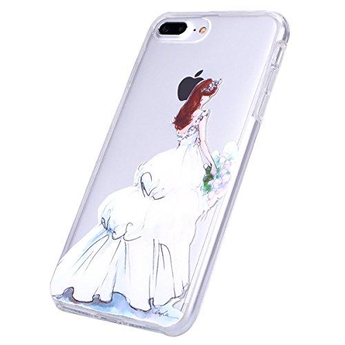 iPhone 7 Plus Hülle Case,iPhone 7 Plus Schutzhülle Bumper,Ekakashop Modisch Durchsichtig Ultra dünn Slim 2 in 1 Transparent Delphine Schwimmen Muster Weiche TPU + PC Silikon Crystal Klar Flexible Gel  Weiße Hochzeit Mädchen