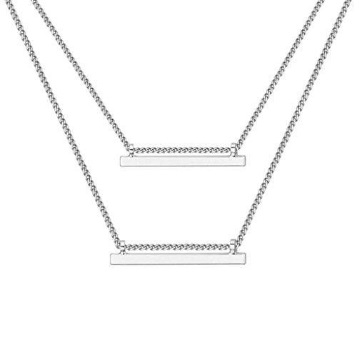 Collana Donna Oro Placcato Raddoppiare 2 Metallo Bars Bianca Collane