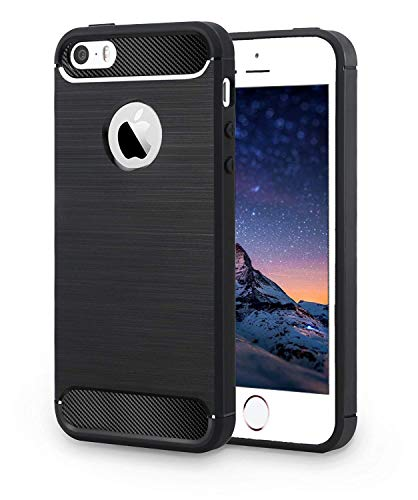 Apple iPhone 5 / iPhone 5S / iPhone SE Back Case – Inktree® Rugged Armour Shock Proof Brushed Carbon Fibre Texture Phone Back Case Cover for Apple iPhone 5 / iPhone 5S / iPhone SE – Black Color