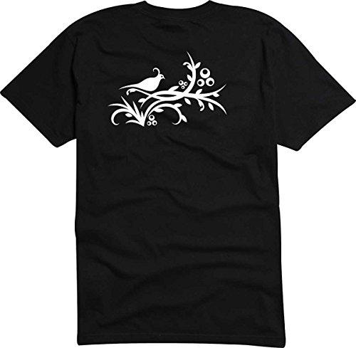 T-Shirt D166 T-Shirt Herren schwarz mit farbigem Brustaufdruck - Tribal Taube und Geäst Schwarz