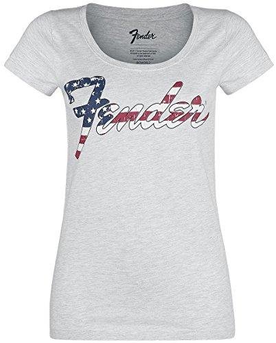 Fender USA Print Girl-Shirt Grau Meliert Grau Meliert