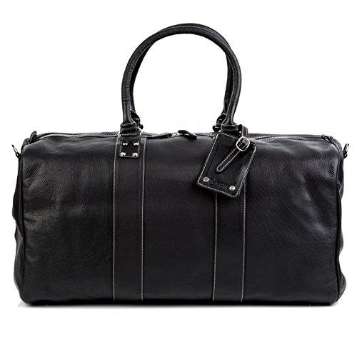 BACCINI Reisetasche TOBY - Weekender groß - Sporttasche echt Leder schwarz