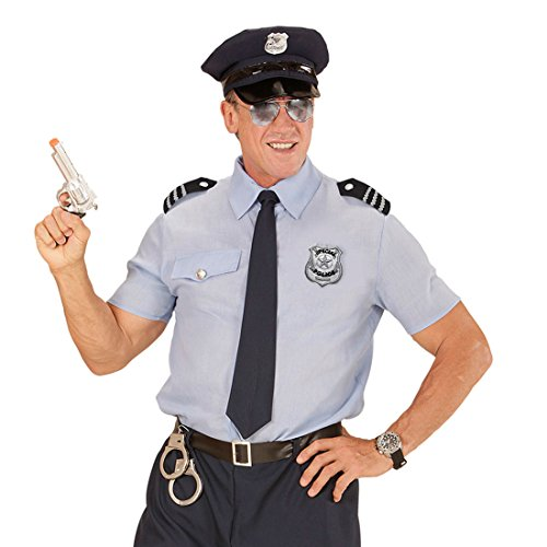 mit Sonnenbrille, Abzeichen und Schulterklappen Polizist Rangabzeichen Cop FBI Polizeimarke (Paar Cop Kostüme)