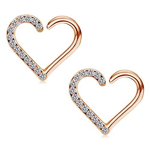 Fectas 1 paio cuore acciaio chirurgico daith tragus helix orecchino cartilagine 14g 10mm hoop con gioielli piercing cz