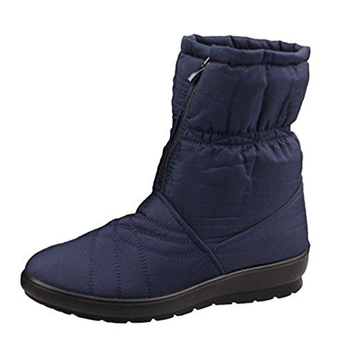 fb104f3f81a4d4 Yiiquan Femmes Moyen Âge Hiver Bottes En Plein Air Étanche Chaud Chaussures  Plates Cheville Bleu Bottines