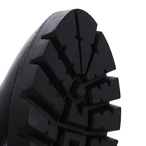 AllhqFashion Damen Rein Rund Zehe Weiches Material Reißverschluss Stiefel Schwarz