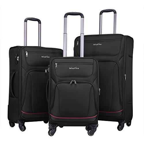 WindTook Trolley Handgepäck Koffer Reisekoffer Zwillingsrollen Weichschalenkoffer Stoffkoffer Gepäck-Sets 4 Rollen für Damen und Herren (Black, 3PCS)