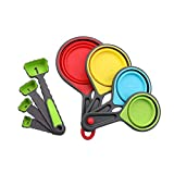 Local Makes A Comeback -Juego de 8 cucharas medidoras de silicona - Utensilios para hornear Juego de herramientas de cocina. verde