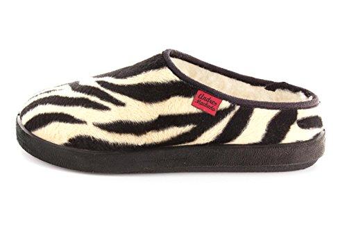 Andres Machado - 27001 - Klassische Pantoffeln in verschiedenen Motiven. Fußbett für großen Komfort. Zebra