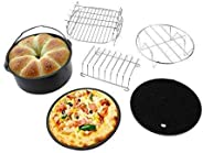 Yetaha 6PCs Air Fryer Accessories for 3.2-4.5QT, Cake Barrel, Silicone Mat, Skewer Rack, Metal holder Fit, Double Layers Skewer Rack, Baking Pizza Pan Holder included