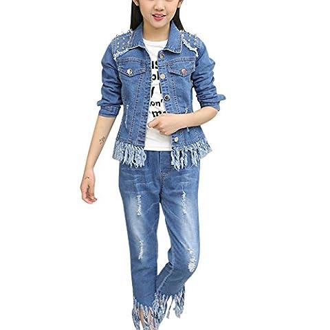 MNBS Kinder Mädchen Jeansanzug Jeansjacke Set Denim Jacke Jeans Sportanzug