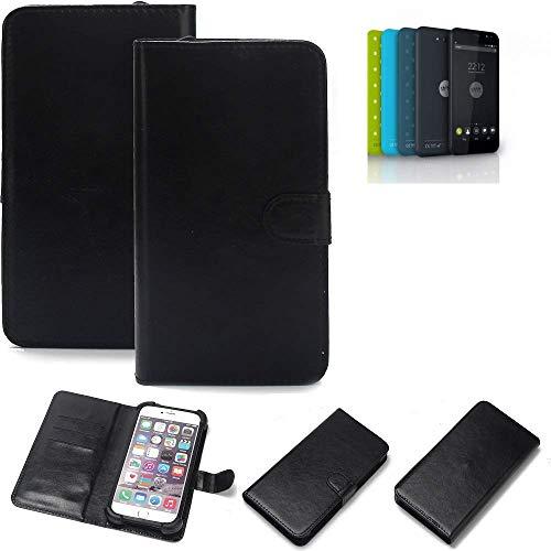 K-S-Trade® Wallet Case Handyhülle Für Shift Shift5.2 Schutz Hülle Smartphone Flip Cover Flipstyle Tasche Schutzhülle Flipcover Slim Bumper Schwarz, 1x