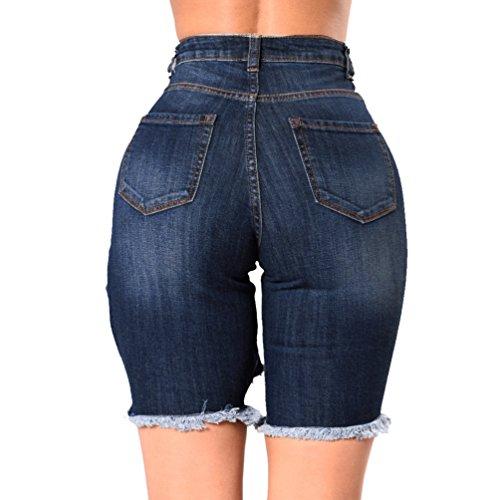 Sentao Frauen Denim Kurze Hose Loch Kurz Jeans Hot Pants Unregelmäßigen Denim  Shorts Cut-Outs ... e0f45cae19
