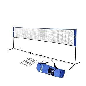 amzdeal Badminton Netz 4.2m Tragbares Volleyball- und Tennis- Netz mit Verstellbaren Höhen faltbares Federballnetz…