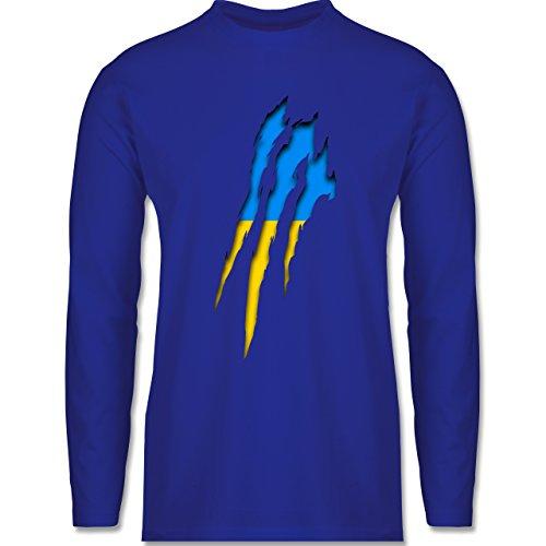 Shirtracer Länder - Ukraine Krallenspuren - Herren Langarmshirt Royalblau