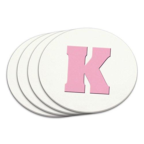 Buchstabe K Initiale Baby Mädchen Block Schriftart Pink Dusche Untersetzer Set