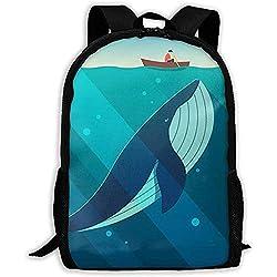 Wal unter einem Boot drucken Erwachsenen Rucksack Laptop Schultern Tasche
