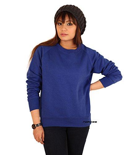 Femmes Plaine molleton encolure ras du cou sweat-shirt bleu royal