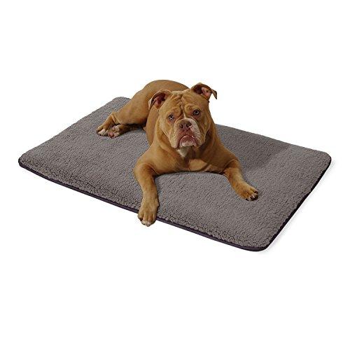 """Homeoutfit24 """"Malu"""" mittlere Hundematte waschbar, hygienisch und rutschfest, Hundedecke passend für die Transportbox oder das Sofa in Grau, Größe M"""