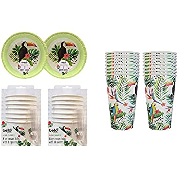 YoL Pack of 48 eco friendly paper plates tropical parrot summer outdoor party picnic