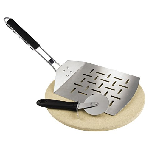 Runde Backstein-set (Xavax Pizza Set (Pizzastein, Pizzaschneider, Pizzaheber, für Grill und Backofen, 28 cm, rund, Brotbackstein aus Cordierit) 3-teilig)