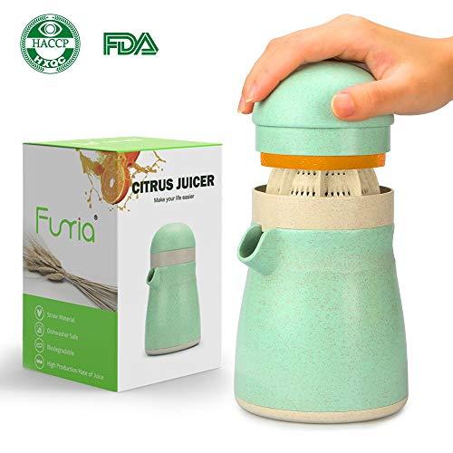 Funria Zitronenpresse Orangenpresse Manuell Zitruspresse, BPA-Frei Spülmaschinenfest Hergestellt aus Biologisch Abbaubarem Weizenstroh