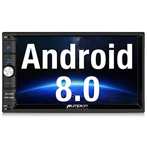 Pumpkin Android 8.0 Autoradio Moniceiver mit GPS Navi Unterstützt Bluetooth DAB+ USB Android Auto WLAN 4G MicroSD 2 Din 7 Zoll Bildschirm - Doppel-audio-subwoofer