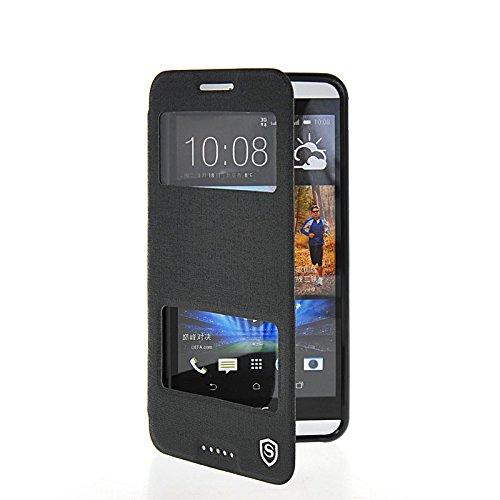 MOONCASE Coque en Cuir Housse de Protection Étui à rabat Case pour HTC Desire 816 Noir