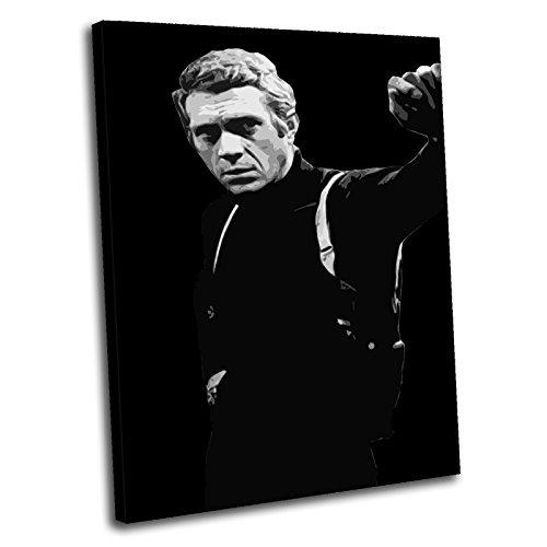Canvas Culture–Steve McQueen bulliitt Gerahmter Kunstdruck auf Leinwand Bild 1, schwarz, 60 x 40 cm
