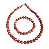 Caja Jaspe Rojo en perlas de 8mm - Pulsera 22cm Cin cierre y Collar 100cm con Cierre de Oro