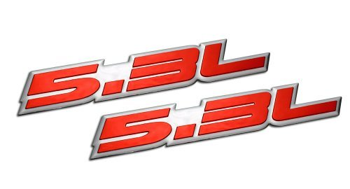 Liter Embossed RED on Highly Polished Silver Real Aluminum Auto Emblem Badge Nameplate for Cadillac Escalade Chevrolet Chevy Avalanche Express Silverado 1500 Suburban Tahoe Trailblazer Impala Express 1500 SSR Monte Carlo El Camino Bel Air Corvette Chevelle EXT SSR GM GMC Savana Sierra 1500 Yukon XL Envoy Denali Canyon Isuzu Ascender Buick Rainier Pontiac Grand Prix Vortec Performance ()