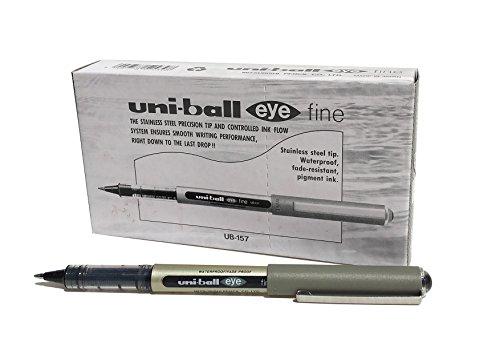 Uni-Ball 13100 - Paquete de 12 bolígrafos de tinta líquida, color negro