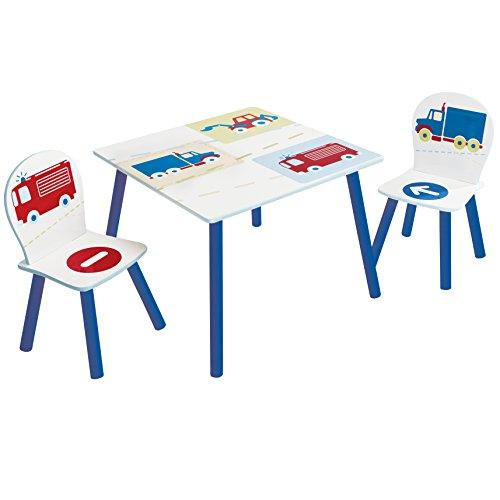 Hello Home Vehículos, Conjunto Infantil de Mesa y Dos sillas, Madera, Blanco, 63 x 63 x 52 cm
