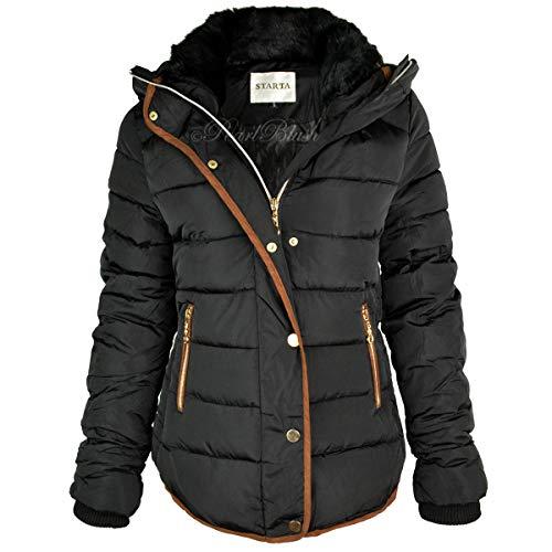 n Gesteppt Winterjacke Kugelfisch Pelzkragen Jacke mit Kapuze Parka Größe NEU - schwarz/brauner Rand, 38 ()