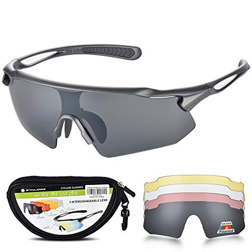Snowledge Sportbrille Fahrradbrille Herren und Damen Sonnenbrille Erwachsene Sport Radbrille Polarisiert Windschutz Brille Motorradbrille Rahmen TR90 UV400 Schutz