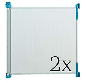 Gaterol Active Lite Blau Doppelpack – Zwei ausziehbare Treppenschutzgitter und Türschutzgitter Rollo bis 140 cm