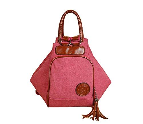 MoliMode Damen Canvas Multifunktionsbeutel Damen Rucksack Schultertasche Handtasche Rosa
