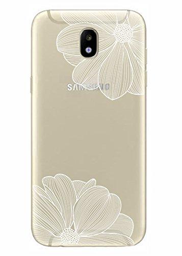 NOVAGO Coque Samsung J5 2017 souple transparente et résistante anti choc avec impression de qualité (Fleurs Blanhces)