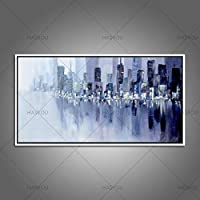 ZXCVB Handgemaltes Ölgemälde100% Hand-Painted Reflection Dark City Oil Painting On Canvas High Quality Wall Decoration Art,50X100Cm