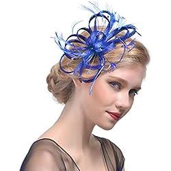 Babysbreath17 Gorra de la Venda de Las Mujeres Tea Party Girls Horquilla de la Flor de la Pluma Headwear Tocados de Boda Azul