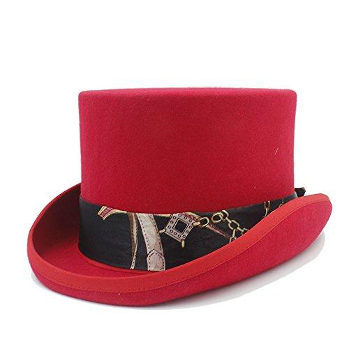 Sunny&Baby Männer Wolle Mad Hatter Top Filzhut Frauen Hochzeit Bowler Hut Magie Hüte für Damen / Herren Mode ( Color : 2 , Size : 59cm ) (Rot Wollfilz-hut Satin)