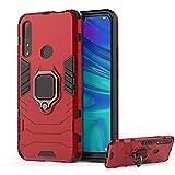 DESCHE per Cover Huawei P Smart Z, Cover per Staffa Dell'anello + Vetro Temperato, Compatibile con Supporto Magnetico per Auto (Non Include la Staffa per Auto) - Rosso