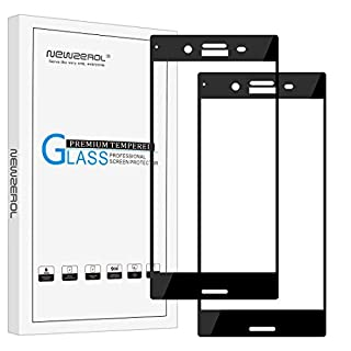 NEWZEROL [2 Pack] for Sony Xperia XZ Premium Screen Protector (5.5 inch) [Full Coverage] Tempered Glass Anti-scratch Bubble-free Protective Film for XZ Premium Dual/Sony Maple DS/SS / G8141 - Black