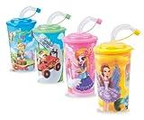4er Set BUNTE 3D Kinder Trinkbecher mit Trinkhalm 600 ml, Saftbecher, Kinderbecher, kindergeburstag