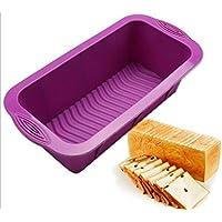 HUVE Molde rectangular silicona para Pan molde para tartas antiadherente para hornear molde para horno-Rojo/púrpura-aleatorio